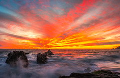 Malibu Beach Sunset Fine Art Landscape Nature Photography Socal Ocean Art Seascape! 45EPIC PCH Red Orange Yellow Clouds Los Angeles Beach Elliot McGucken Master Fine Art Luxury Photography Southern California Art!