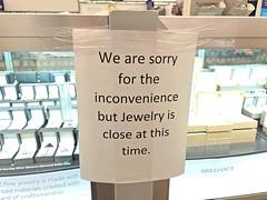 Walmart jewelry department closed [01]