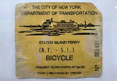 1980s-Era Staten Island Ferry Bicycle Ticket, New Brighton