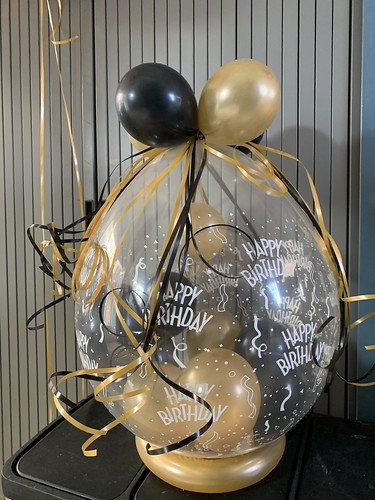 Kadoballon Zwart Goud Verjaardag