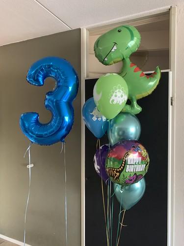 Ballonboeket Verjaardag 3 Jaar Dino Dinosaurus