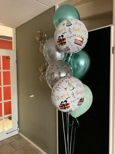 Ballonboeket Verjaardag Groen Zilver