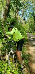 On the W&OD bike trail. David stops for a photo op. April 2021