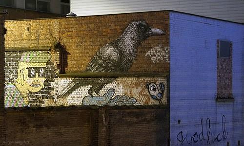 'Good Luck',  (Bué, Roa & Resto) Streetart Ghent, Belgium