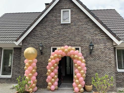 Ballonboog 5m en Ballonpilaar Breed Rond Roze Goud Oostvoorne