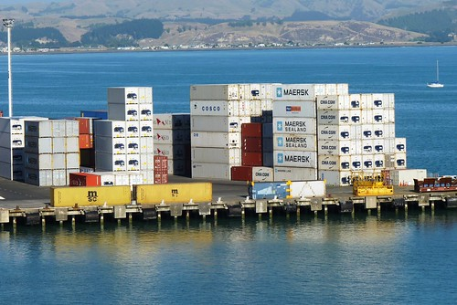 Containers on Waterfront at Napier New Zealand