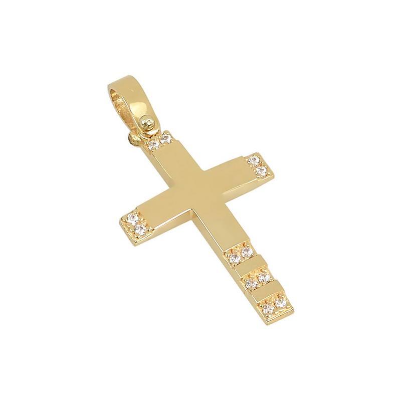 Χρυσός σταυρός με πέτρες Κ14 Τ95