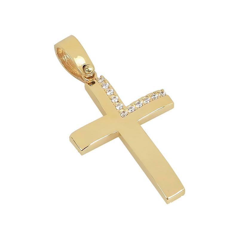 Χρυσός σταυρός με πέτρες Κ14 Τ88