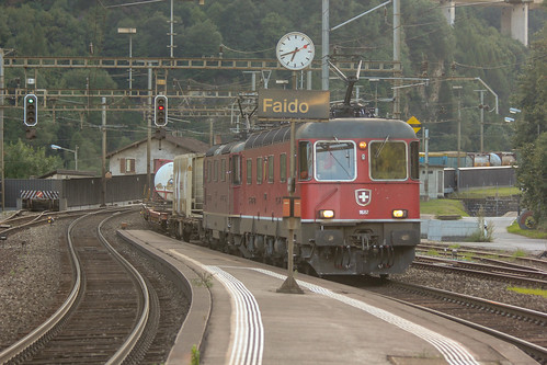 11682 in an Re 10/10 formation passing Faido on freight, 01 August 2016,