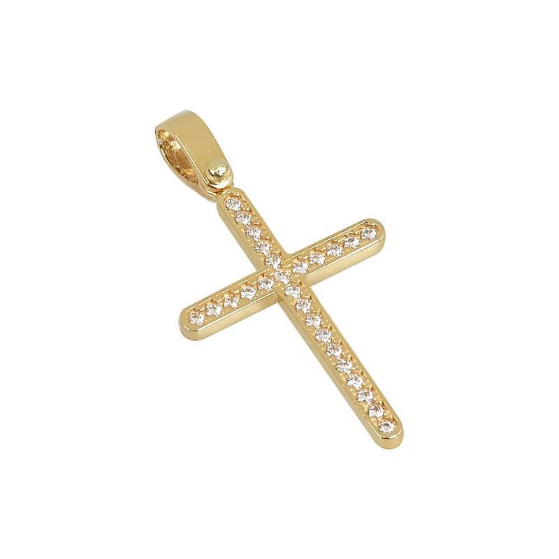 Χρυσός σταυρός με πέτρες Κ14 Τ98