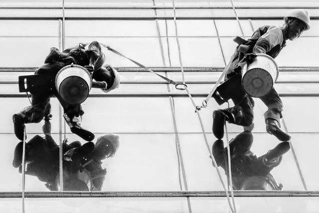 Aerial cleaning workers