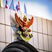 Statue above the front door of the Bangkok Bank next to the MRT Hua Lampong, Bangkok, Thailand.  430-Edita