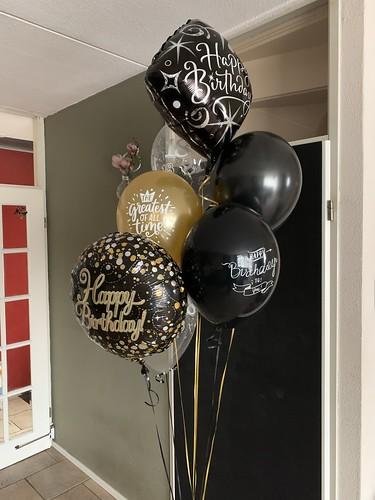 Ballonboeket Verjaardag Zwart Goud