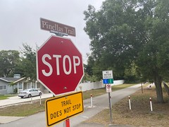Stop and watch for Pinella Trail path