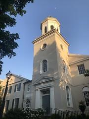 Tower and cupola, moon beyond, St. John's Episcopal Church, Georgetown, Washington, D.C.