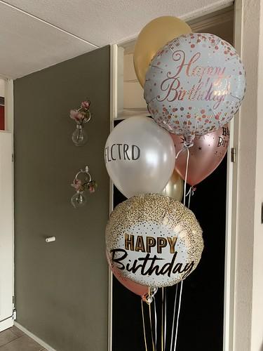 Ballonboeket Verjaardag Goud Rose Goud