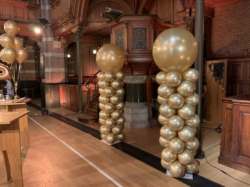 Ballonpilaar Breed Rond Chrome Goud Debatpodium Arminius Rotterdam