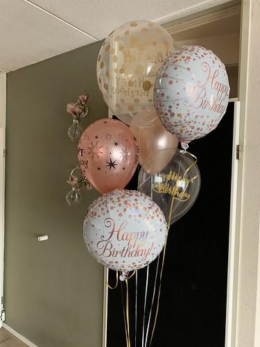 Ballonboeket Verjaardag Rose Goud Wit
