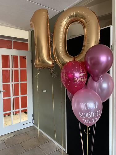 Ballonboeket Verjaardag 10 Jaar Roze Goud