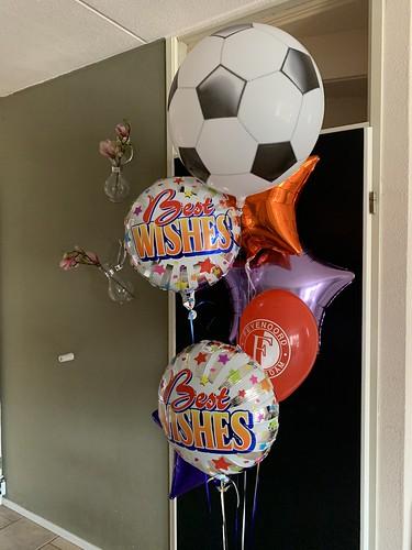 Ballonboeket Beste Wishes Succes Voetbal Feyenoord