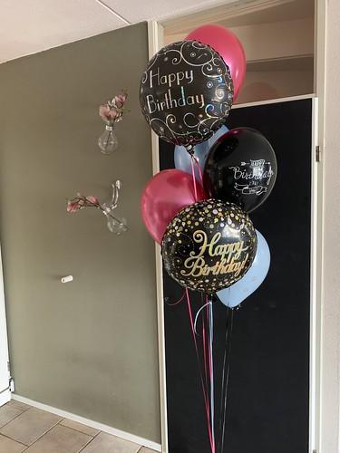 Ballonboeket Verjaardag Zwart Roze