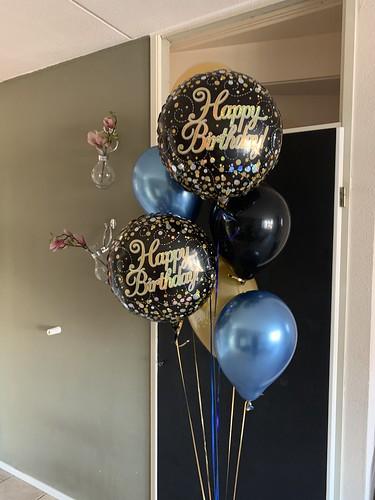 Ballonboeket Verjaardag Blauw Zwart Goud
