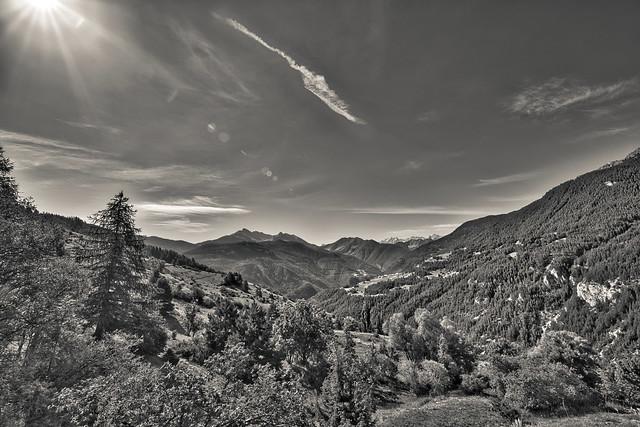 Landscape near the Lac de Roue (B&W version)