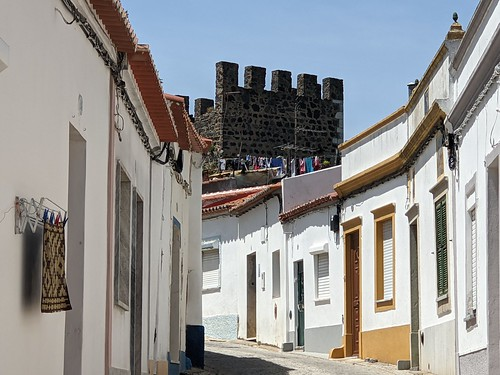 Beja street with castle keep from the 13th century- Portugal