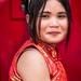 New Year's 2018 Bangkok, Thailand on Yaowarat Rd: beautiful woman dressed for the festivities. 639-Edita