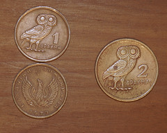 1 and 2 Drachma pieces