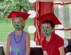 The twins graduated from kindergarten today