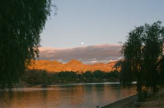 Nearly Full Moon Rising, Colorado River