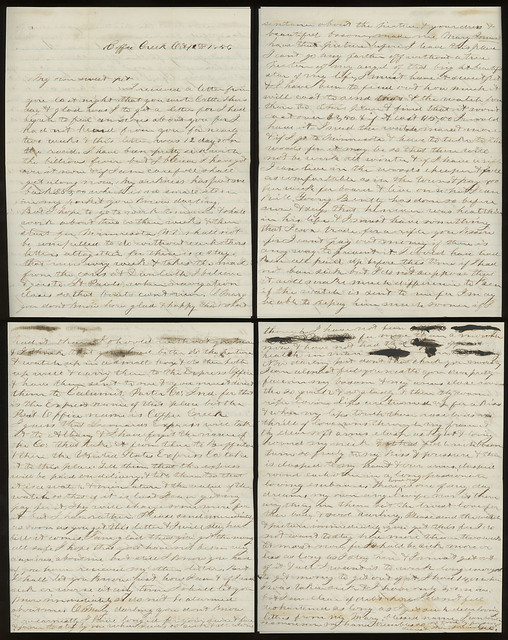 Photo:Letter from George H. Spooner to his wife, Mary, October 12, 1856 - Coffee Creek, Indiana By Shook Photos