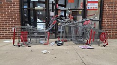 Overturned shopping carts in front of CVS [04]