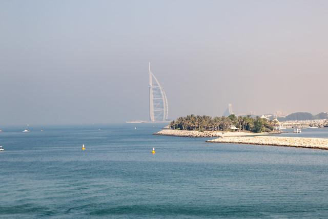 Photo:Looking back at Burj Al Arab from The Palm Jumeirah, Dubai, United Arab Emirates By Jim 03