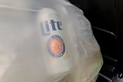 Beer can in a trash bag