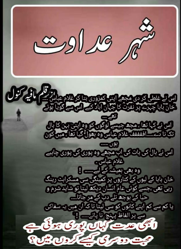 Shaher E Adawat is a rude hero, forced marriage, romantic, Wadera, Thriller and Revenge based urdu novel by Mafia Kanwal.