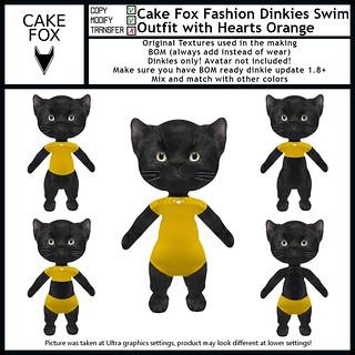 Cake Fox Fashion Dinkies Swim Outfit with Hearts Orange