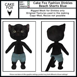 Cake Fox Fashion Dinkies Beach Shorts Blue