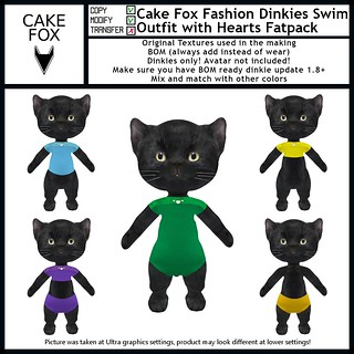 Cake Fox Fashion Dinkies Swim Outfit with Hearts Fatpack