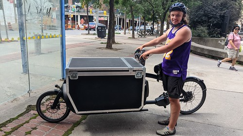 This e-bike's insulated cargo bin is used to carry meat from a butcher in Toronto's St. Lawrence Market, 2021 07 02