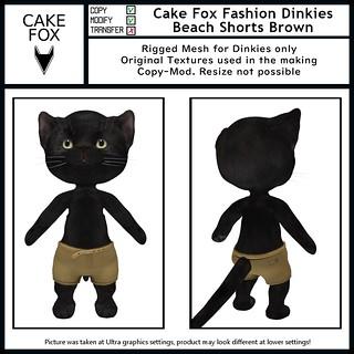 Cake Fox Fashion Dinkies Beach Shorts Brown