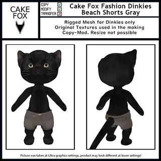 Cake Fox Fashion Dinkies Beach Shorts Gray