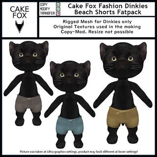 Cake Fox Fashion Dinkies Beach Shorts Fatpack