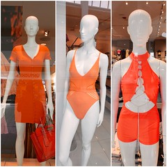 Orange Outfits In Shop Windows At The Roosevelt Field Mall