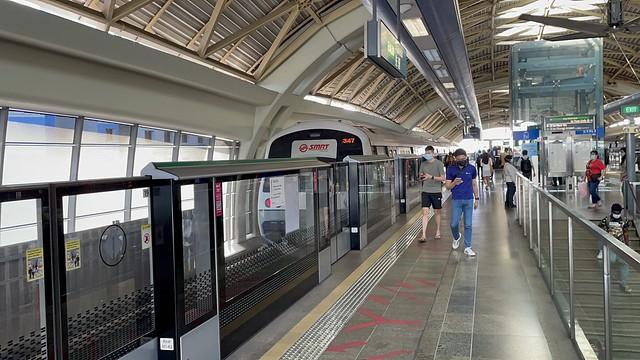 SMRT (East West Line) - C751B (347/348) leaving EW28 Pioneer