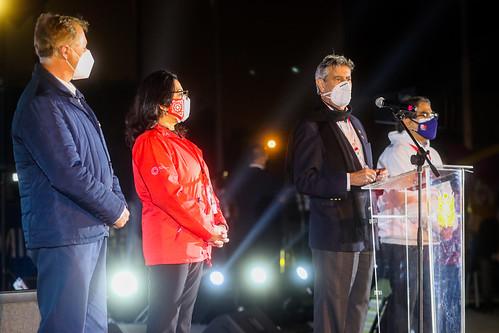 El presidente Francisco Sagasti, junto con la titular de la PCM, Violeta Bermúdez; el titular del Ministerio de Salud, Oscar Ugarte, diversos Ministros de Estado y el alcalde de la Municipalidad de Lima, lidera la clausura del tercer Vacunatón en Lima Metropolitana y Callao.