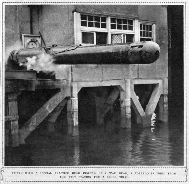 Photo:Torpedo speed trail - Fired from a test astation with a practice head - July 1941 - World War 2 By Bradford Timeline