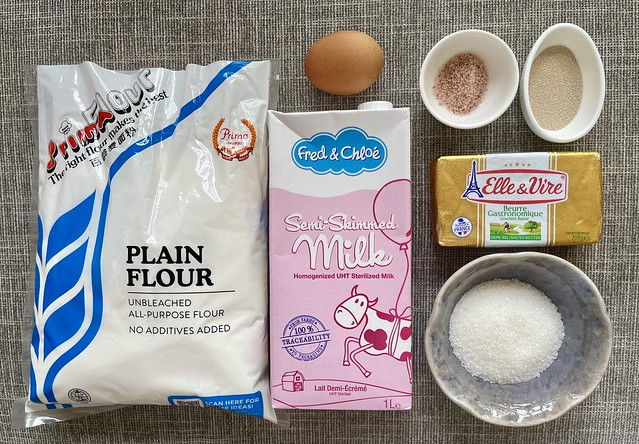 Ingredients for Fluffy Soft Buns (Roti Naik)