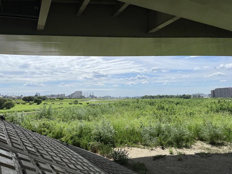 多摩川沿いの橋の下
